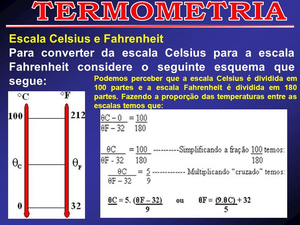 Escala Celsius e Fahrenheit Para converter da escala Celsius para a escala Fahrenheit considere o seguinte esquema que segue: Podemos perceber que a e