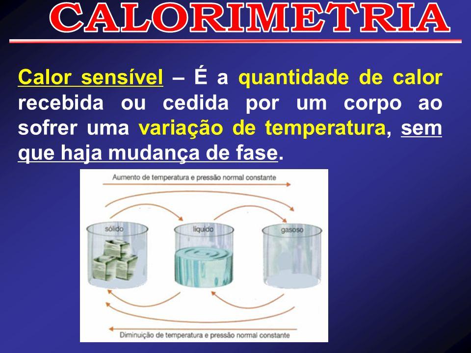 Calor sensível – É a quantidade de calor recebida ou cedida por um corpo ao sofrer uma variação de temperatura, sem que haja mudança de fase.