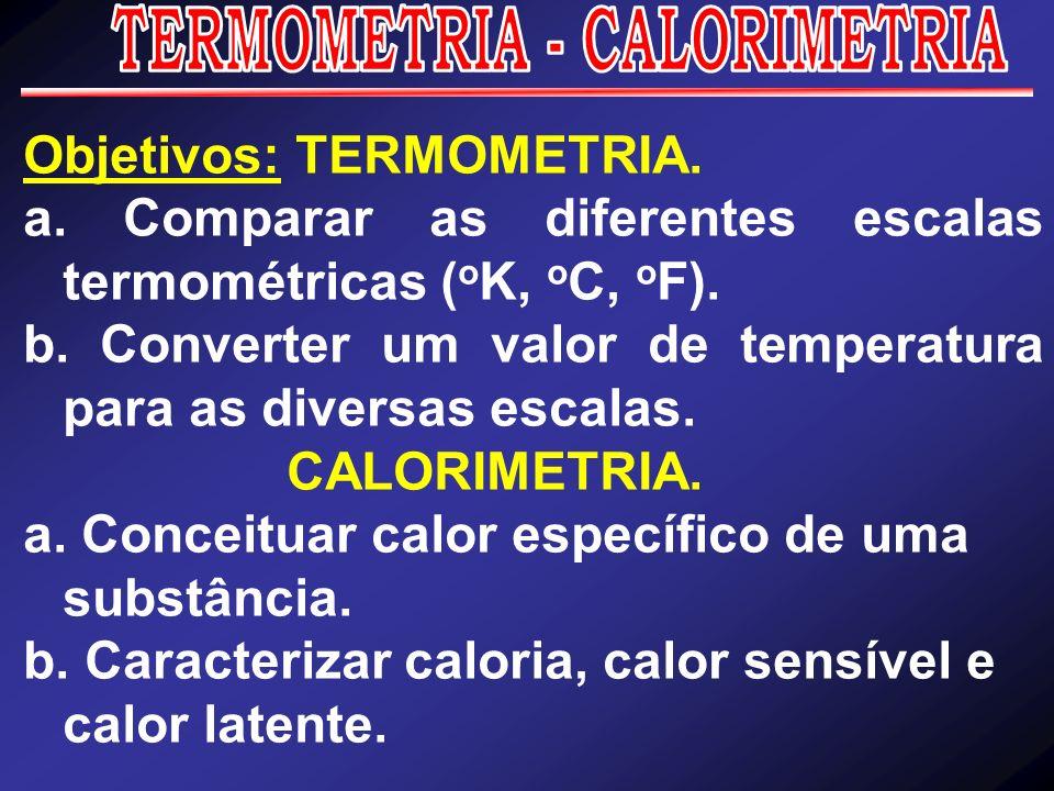 Objetivos: TERMOMETRIA. a. Comparar as diferentes escalas termométricas ( o K, o C, o F). b. Converter um valor de temperatura para as diversas escala