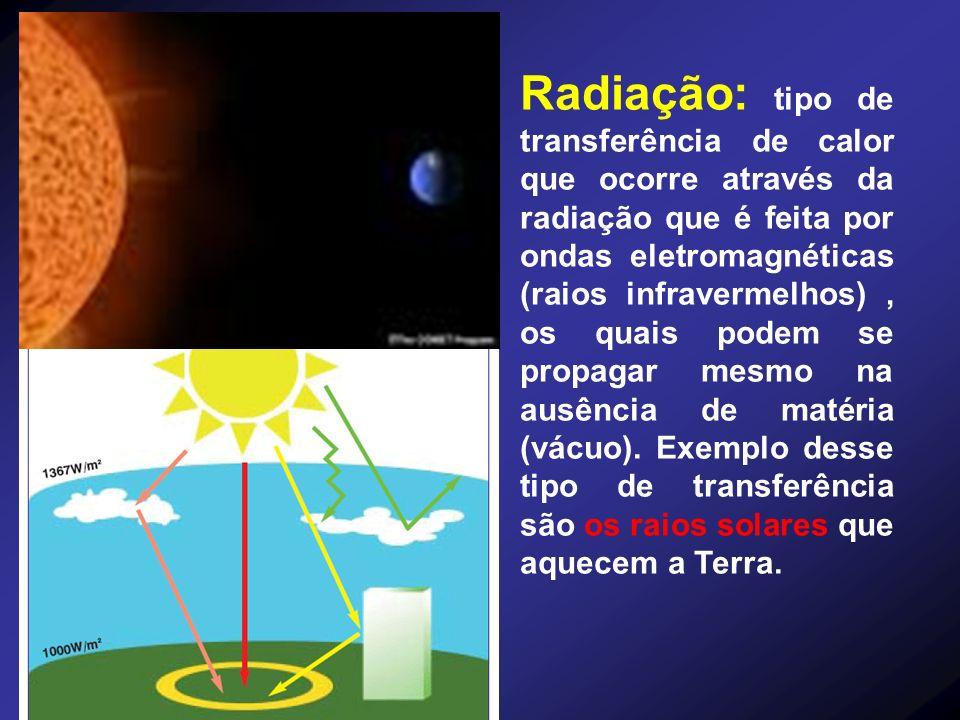 Radiação: tipo de transferência de calor que ocorre através da radiação que é feita por ondas eletromagnéticas (raios infravermelhos), os quais podem