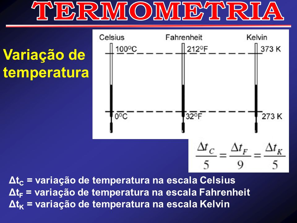 Δt C = variação de temperatura na escala Celsius Δt F = variação de temperatura na escala Fahrenheit Δt K = variação de temperatura na escala Kelvin V