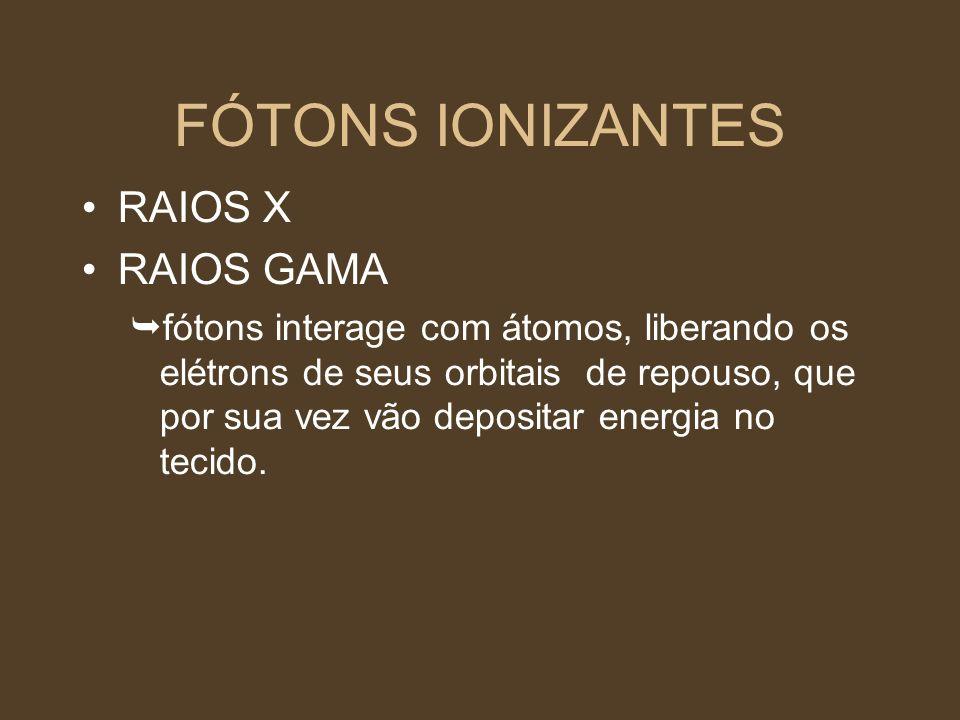 FÓTONS IONIZANTES RAIOS X RAIOS GAMA fótons interage com átomos, liberando os elétrons de seus orbitais de repouso, que por sua vez vão depositar ener