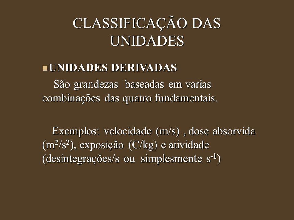 CLASSIFICAÇÃO DAS UNIDADES UNIDADES DERIVADAS UNIDADES DERIVADAS São grandezas baseadas em varias combinações das quatro fundamentais. São grandezas b