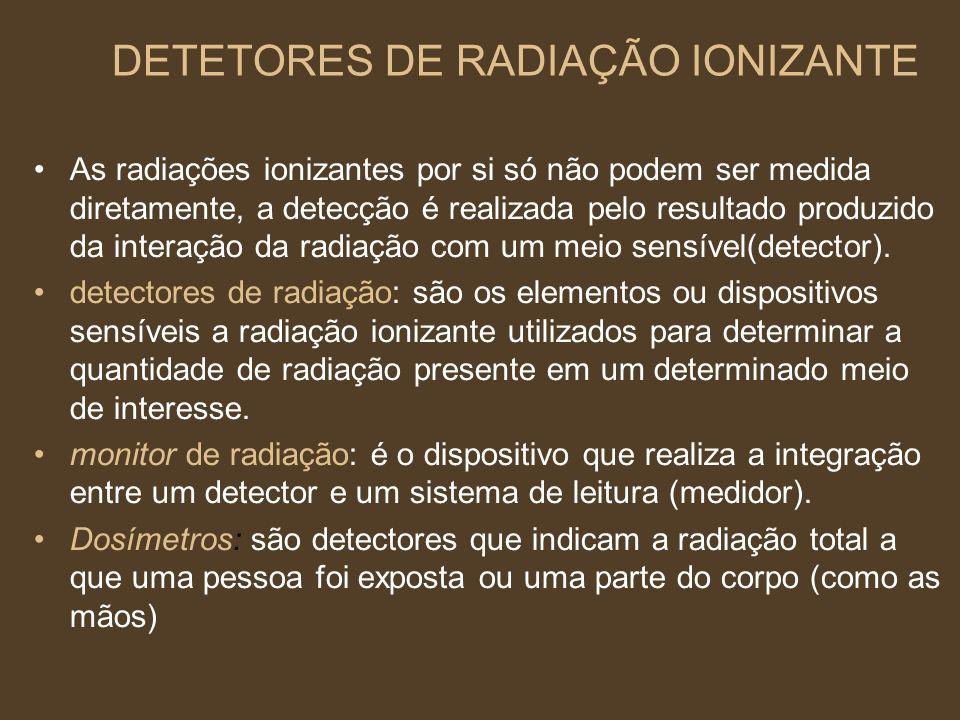 DETETORES DE RADIAÇÃO IONIZANTE As radiações ionizantes por si só não podem ser medida diretamente, a detecção é realizada pelo resultado produzido da