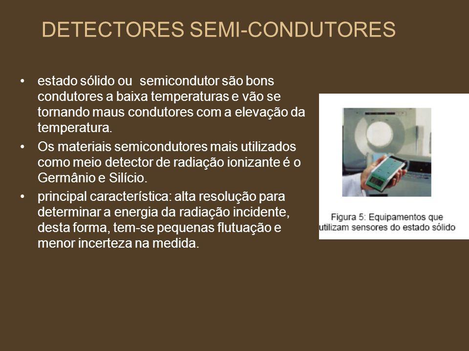 DETECTORES SEMI-CONDUTORES estado sólido ou semicondutor são bons condutores a baixa temperaturas e vão se tornando maus condutores com a elevação da