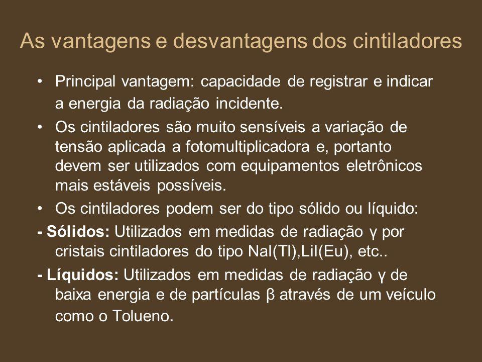 As vantagens e desvantagens dos cintiladores Principal vantagem: capacidade de registrar e indicar a energia da radiação incidente. Os cintiladores sã