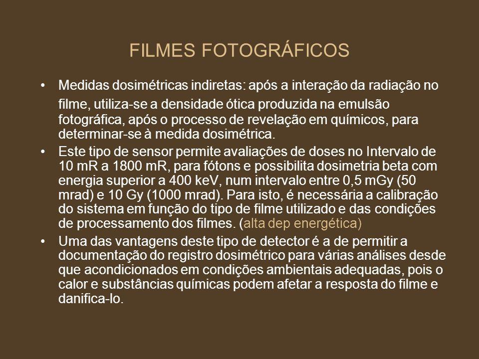 FILMES FOTOGRÁFICOS Medidas dosimétricas indiretas: após a interação da radiação no filme, utiliza-se a densidade ótica produzida na emulsão fotográfi
