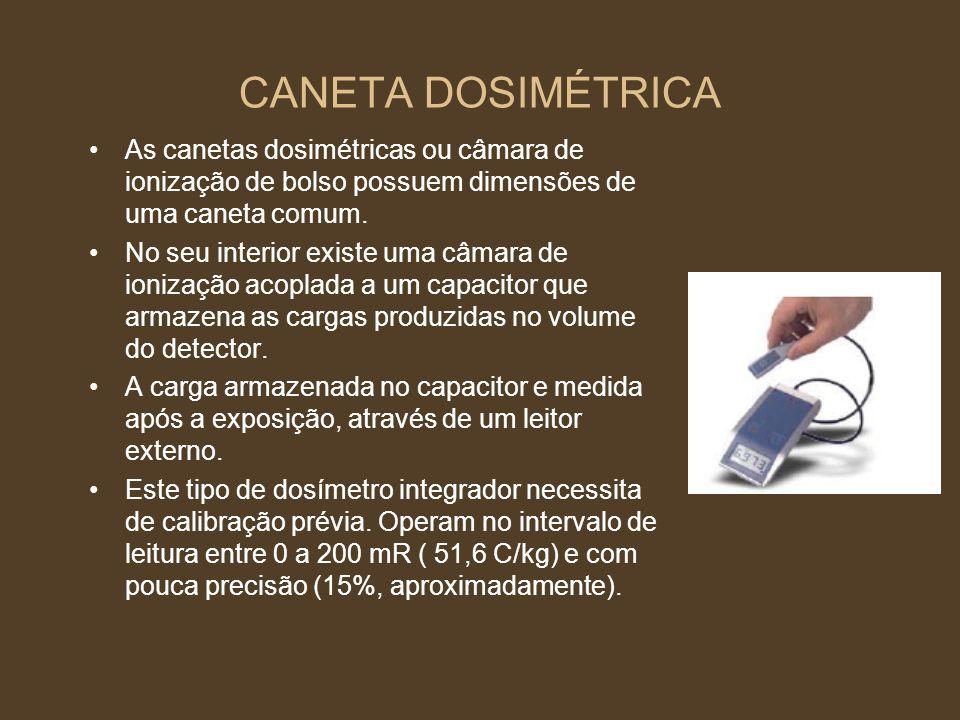 CANETA DOSIMÉTRICA As canetas dosimétricas ou câmara de ionização de bolso possuem dimensões de uma caneta comum. No seu interior existe uma câmara de