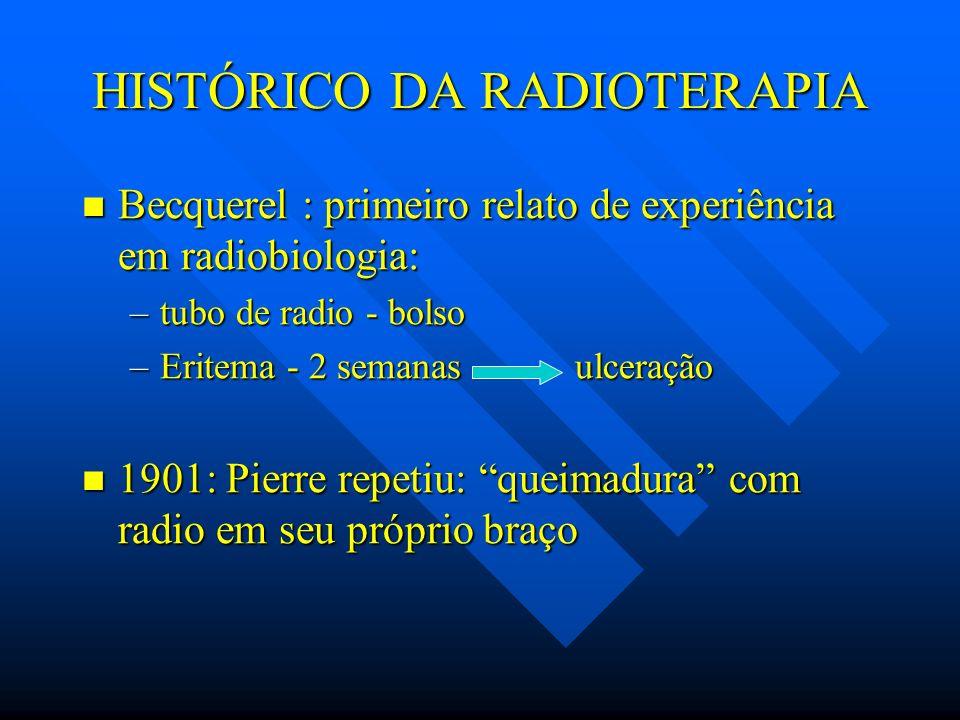 HISTÓRICO DA RADIOTERAPIA Becquerel : primeiro relato de experiência em radiobiologia: Becquerel : primeiro relato de experiência em radiobiologia: –t