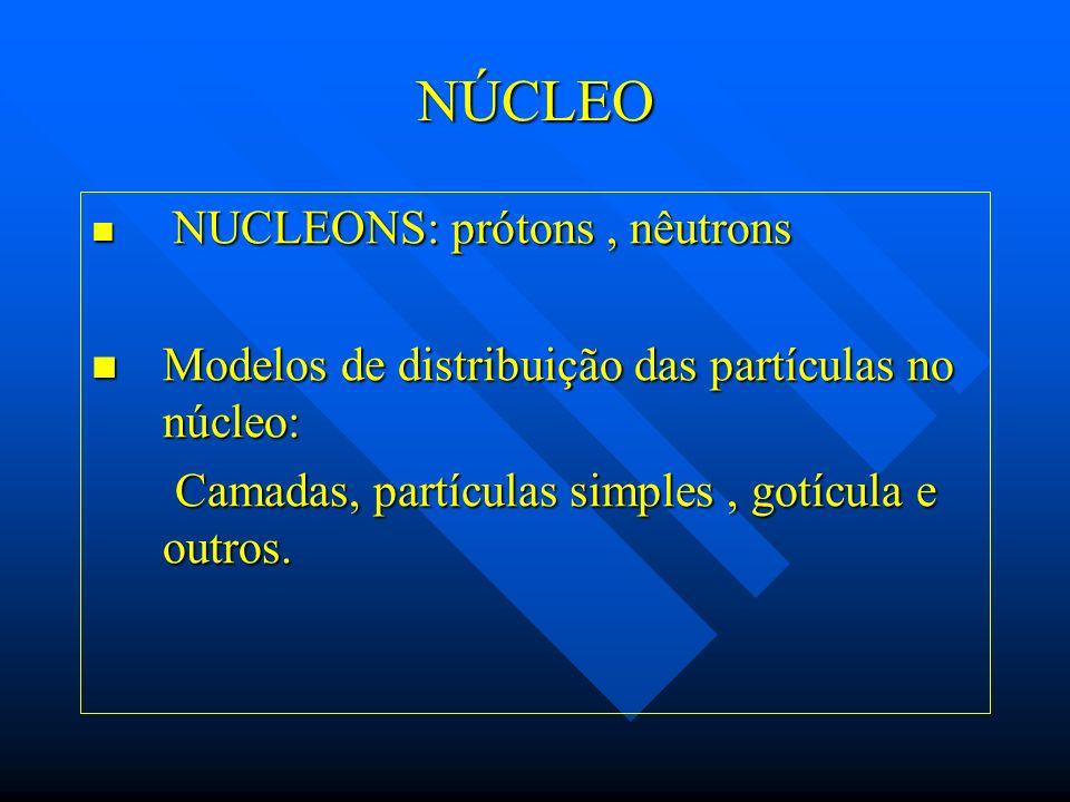 NÚCLEO NUCLEONS: prótons, nêutrons NUCLEONS: prótons, nêutrons Modelos de distribuição das partículas no núcleo: Modelos de distribuição das partícula
