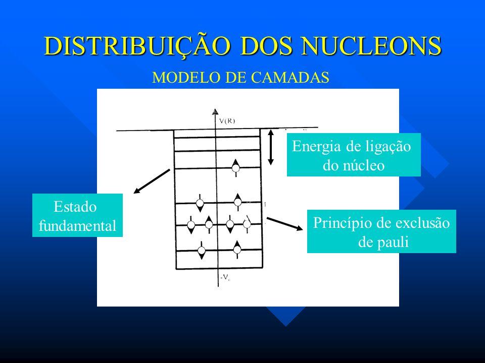 DISTRIBUIÇÃO DOS NUCLEONS Energia de ligação do núcleo Princípio de exclusão de pauli Estado fundamental MODELO DE CAMADAS