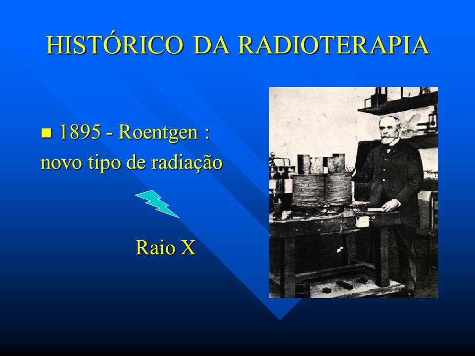 HISTÓRICO DA RADIOTERAPIA 1895 - Roentgen : 1895 - Roentgen : novo tipo de radiação Raio X