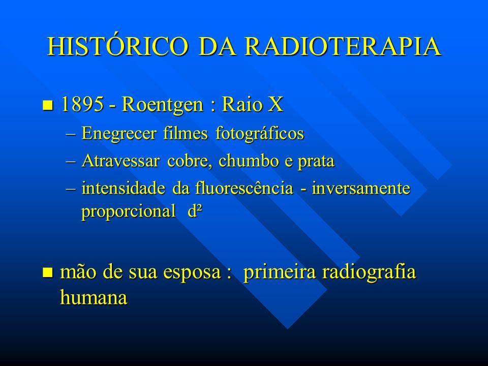 HISTÓRICO DA RADIOTERAPIA 1895 - Roentgen : Raio X 1895 - Roentgen : Raio X –Enegrecer filmes fotográficos –Atravessar cobre, chumbo e prata –intensid