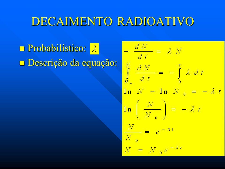 DECAIMENTO RADIOATIVO Probabilístico: Probabilístico: Descrição da equação: Descrição da equação: