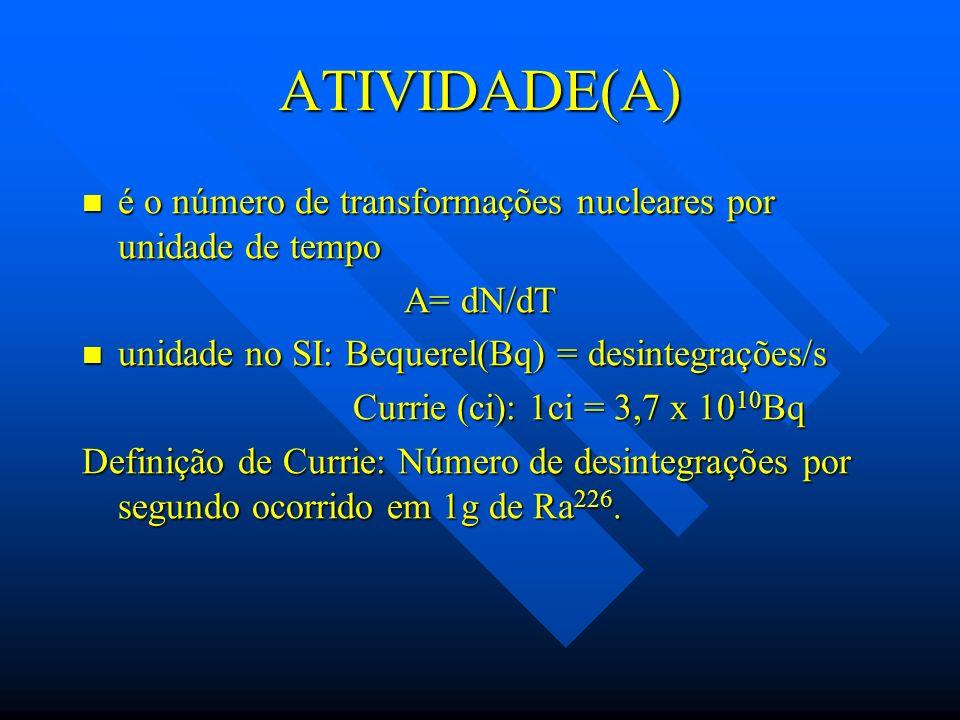 ATIVIDADE(A) é o número de transformações nucleares por unidade de tempo é o número de transformações nucleares por unidade de tempo A= dN/dT unidade