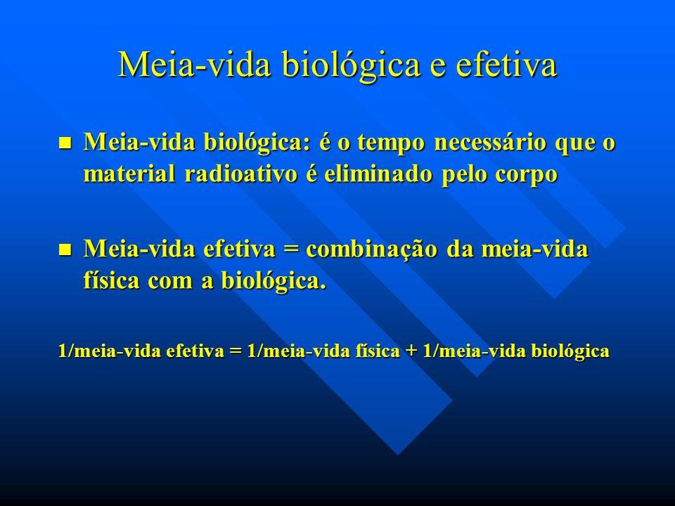 Meia-vida biológica e efetiva Meia-vida biológica: é o tempo necessário que o material radioativo é eliminado pelo corpo Meia-vida biológica: é o temp