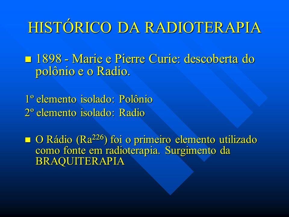 HISTÓRICO DA RADIOTERAPIA 1898 - Marie e Pierre Curie: descoberta do polônio e o Radio. 1898 - Marie e Pierre Curie: descoberta do polônio e o Radio.