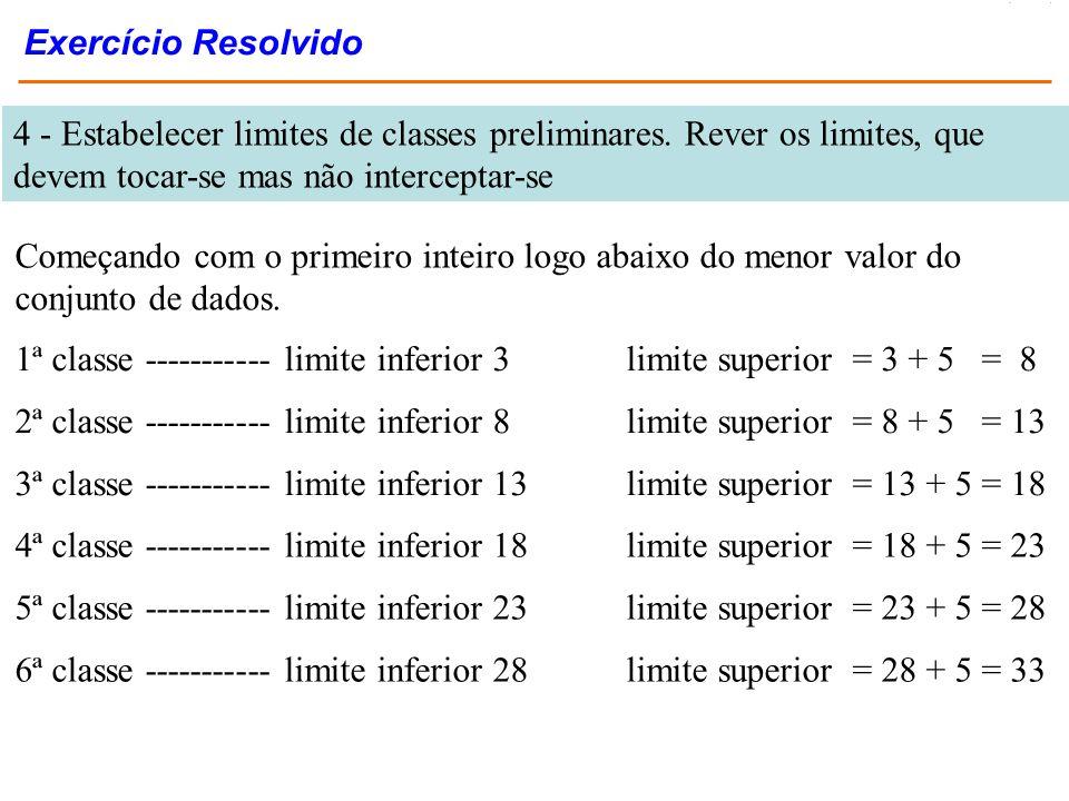 4 - Estabelecer limites de classes preliminares. Rever os limites, que devem tocar-se mas não interceptar-se 1ª classe ----------- limite inferior 3 l