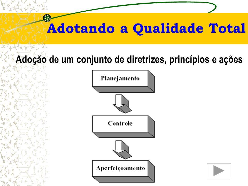 Gestão da Qualidade Total Princípios (ISO) – continuação –Melhoria Contínua – objetivo permanente da organização. Principal ferramenta: ciclo PDCA