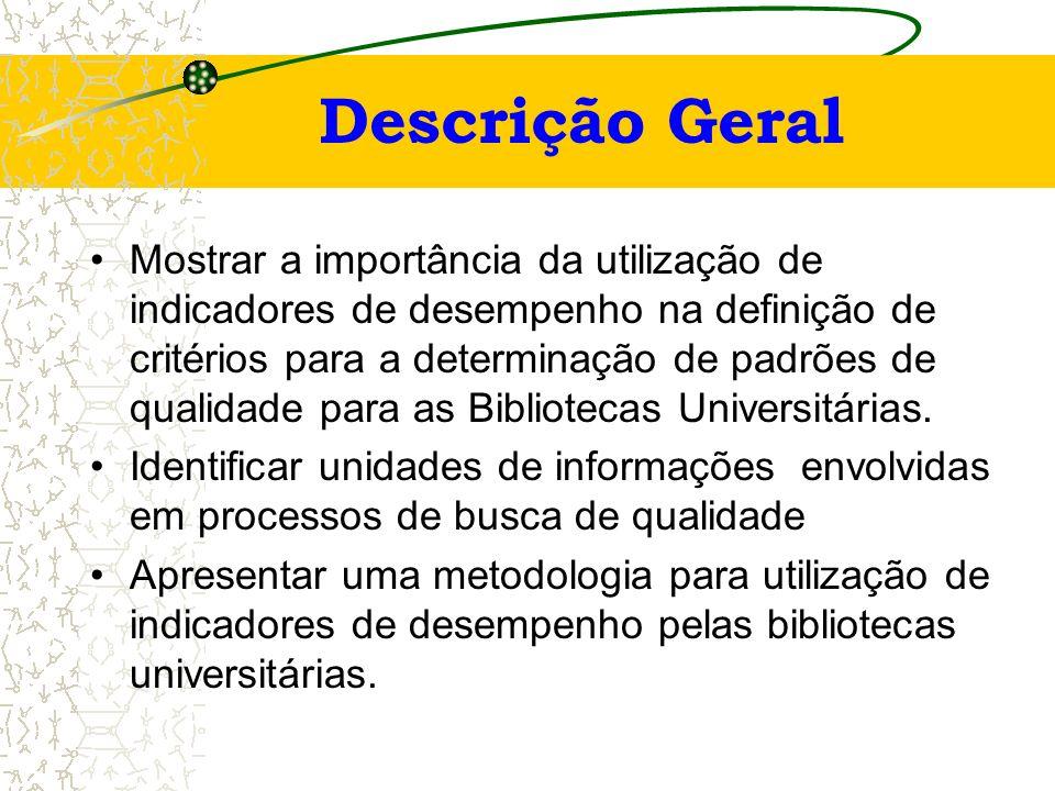 indicadores de desempenho e padrões de qualidade Mestrando: Marcos Vinícius Andrade- marcosvinicius@vm.uff.br Orientadora: Mara Telles Salles, D. Sc.