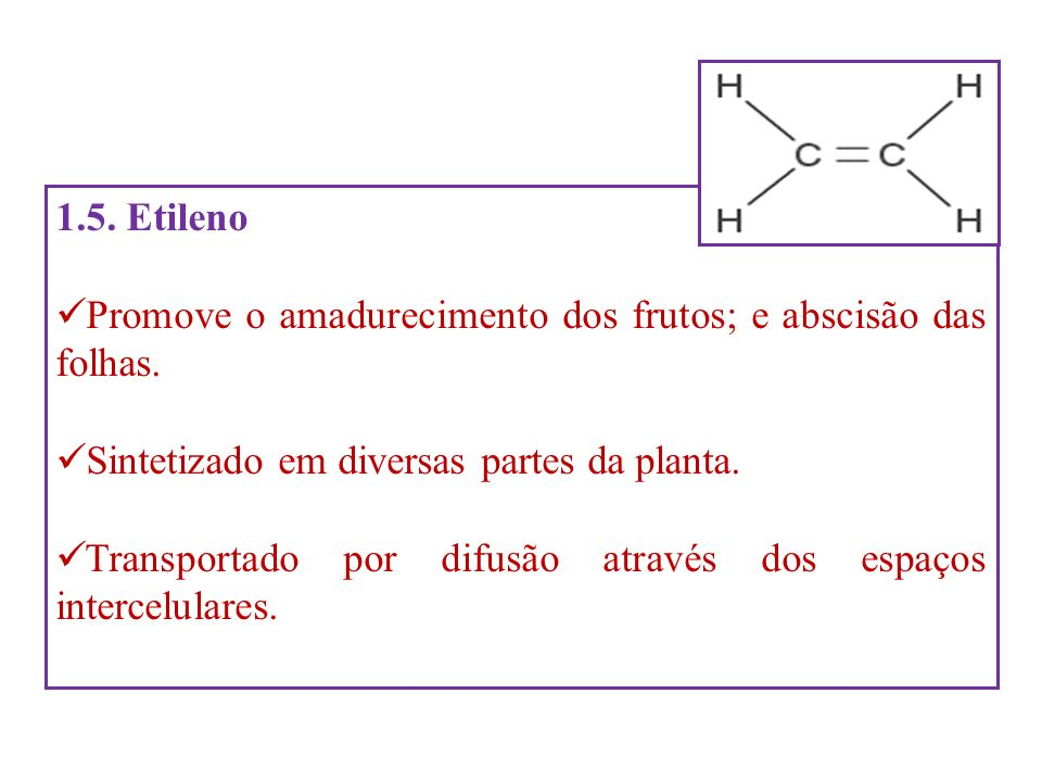 1.5. Etileno Promove o amadurecimento dos frutos; e abscisão das folhas. Sintetizado em diversas partes da planta. Transportado por difusão através do