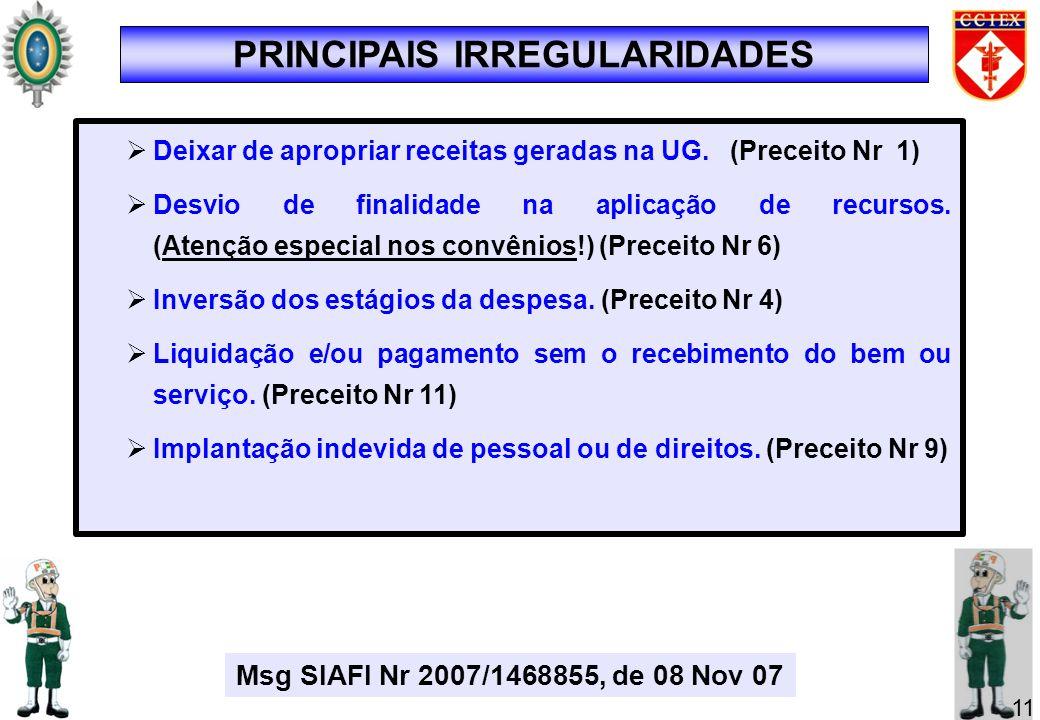 Deixar de apropriar receitas geradas na UG. (Preceito Nr 1) Desvio de finalidade na aplicação de recursos. (Atenção especial nos convênios!) (Preceito