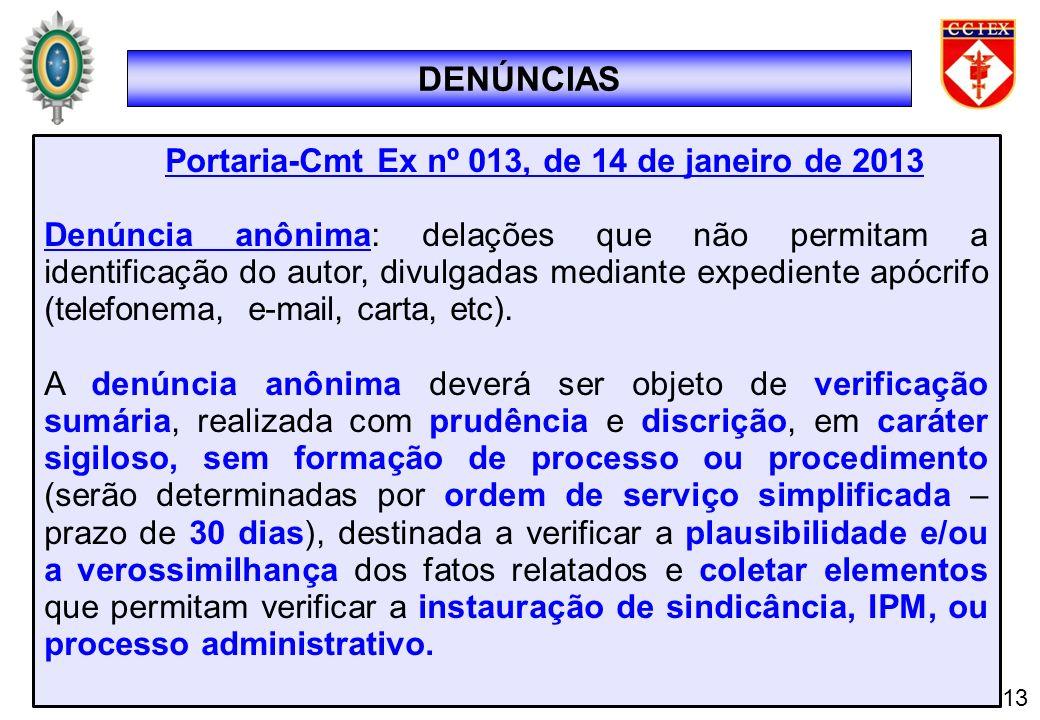 DENÚNCIAS 13 Portaria-Cmt Ex nº 013, de 14 de janeiro de 2013 Denúncia anônima: delações que não permitam a identificação do autor, divulgadas mediant