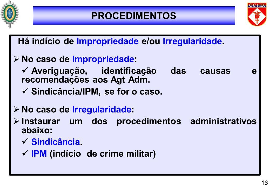 Há indício de Impropriedade e/ou Irregularidade. No caso de Impropriedade: Averiguação, identificação das causas e recomendações aos Agt Adm. Sindicân