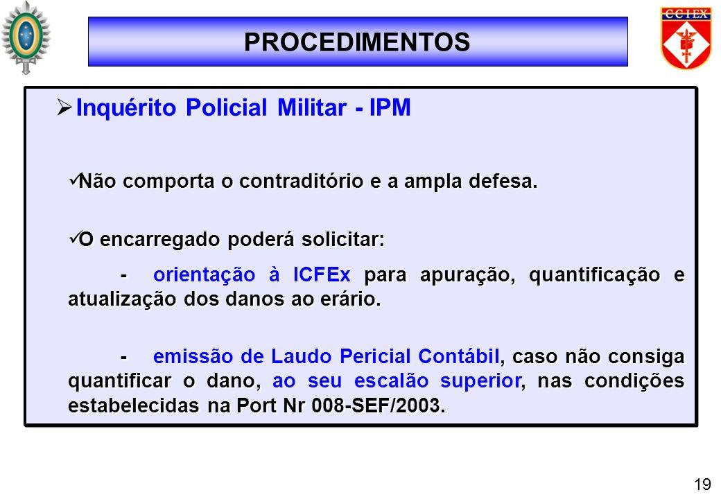 PROCEDIMENTOS 19 Inquérito Policial Militar - IPM Não comporta o contraditório e a ampla defesa. Não comporta o contraditório e a ampla defesa. O enca
