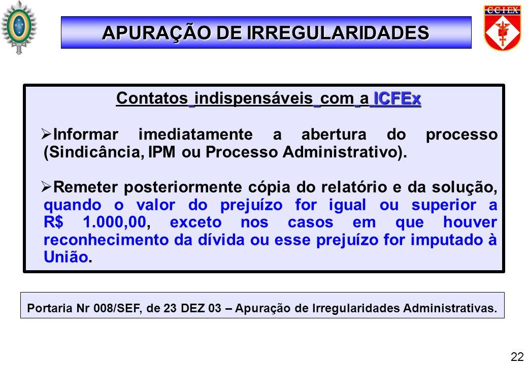 Portaria Nr 008/SEF, de 23 DEZ 03 – Apuração de Irregularidades Administrativas. ICFEx Contatos indispensáveis com a ICFEx Informar imediatamente a ab