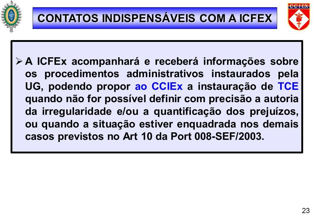 A ICFEx acompanhará e receberá informações sobre os procedimentos administrativos instaurados pela UG, podendo propor ao CCIEx a instauração de TCE qu