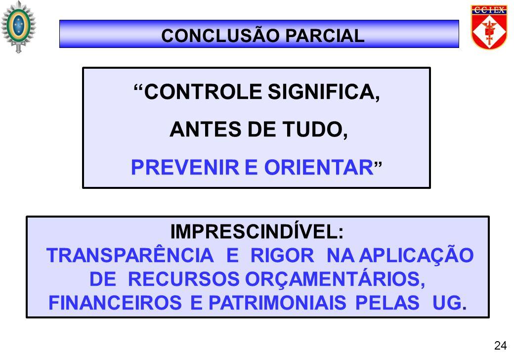 CONCLUSÃO PARCIAL CONTROLE SIGNIFICA, ANTES DE TUDO, PREVENIR E ORIENTAR IMPRESCINDÍVEL: TRANSPARÊNCIA E RIGOR NA APLICAÇÃO DE RECURSOS ORÇAMENTÁRIOS,