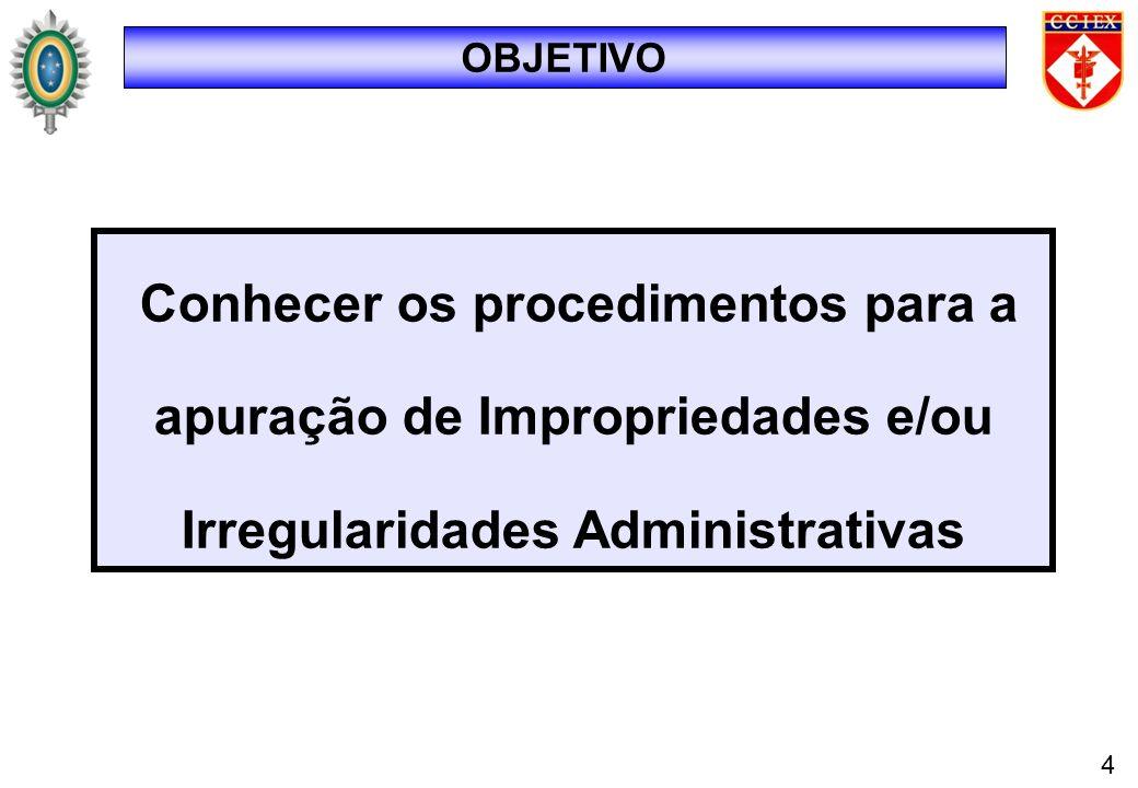 OBJETIVO Conhecer os procedimentos para a apuração de Impropriedades e/ou Irregularidades Administrativas 4