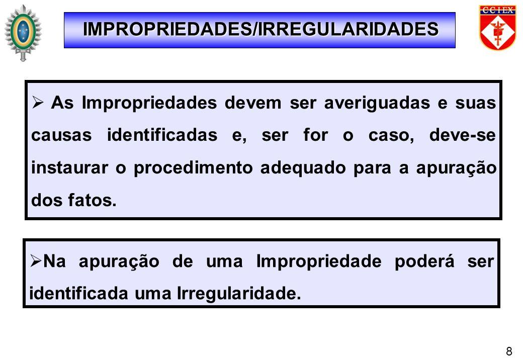 IMPROPRIEDADES/IRREGULARIDADES As Impropriedades devem ser averiguadas e suas causas identificadas e, ser for o caso, deve-se instaurar o procedimento
