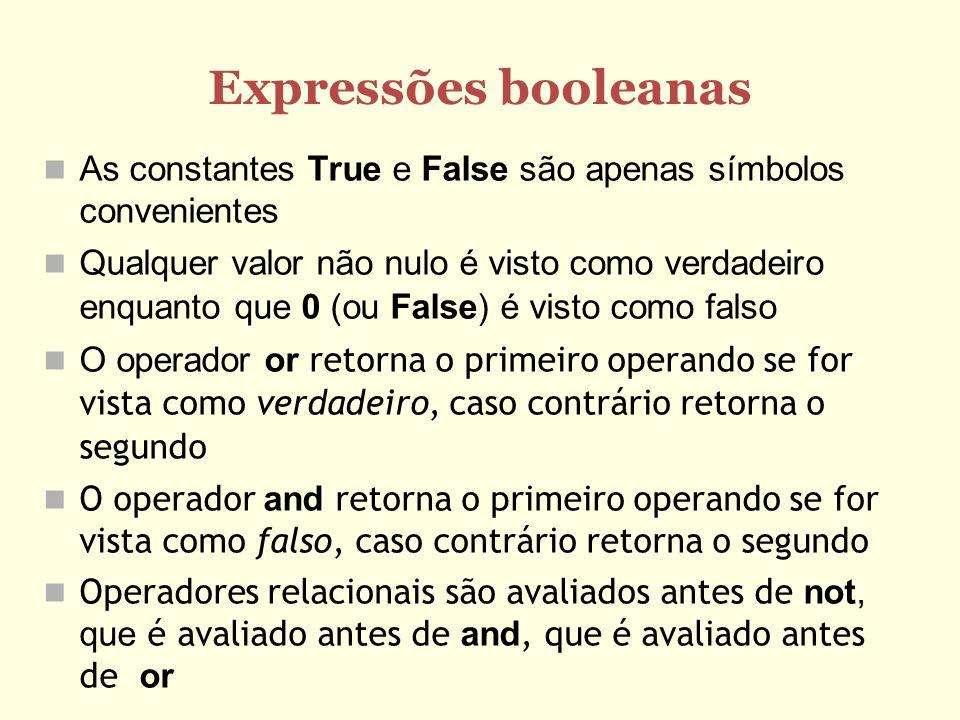 Expressões booleanas As constantes True e False são apenas símbolos convenientes Qualquer valor não nulo é visto como verdadeiro enquanto que 0 (ou Fa