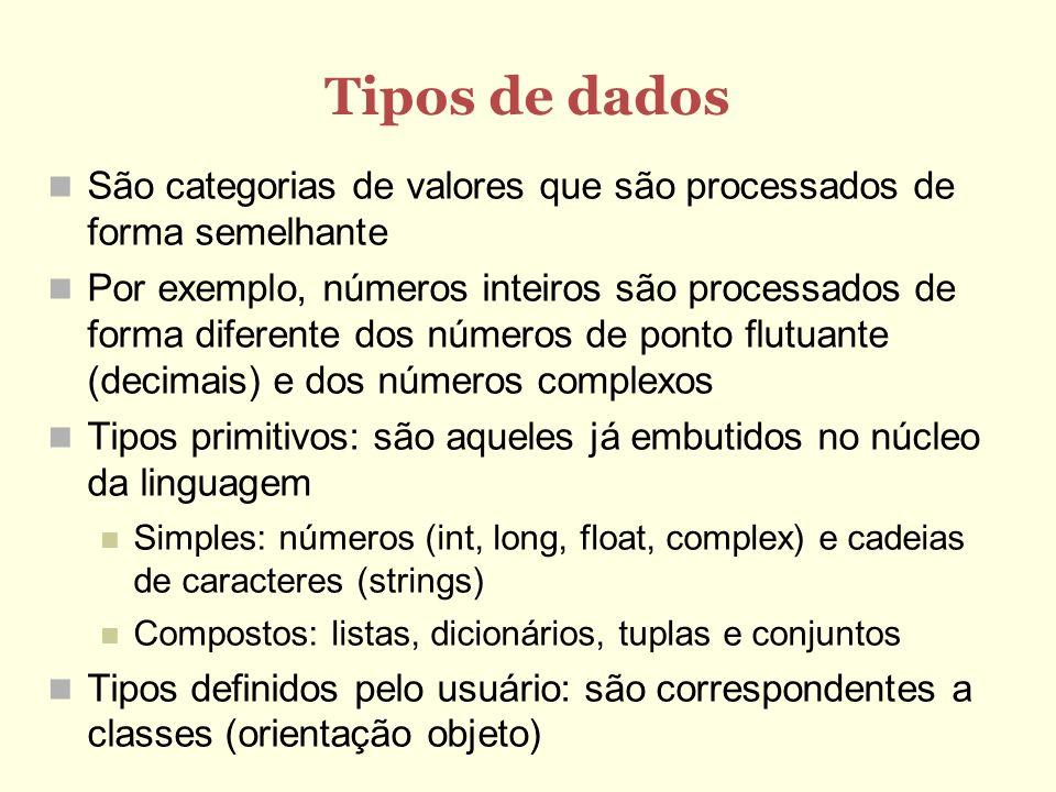 Variáveis São nomes dados a áreas de memória Nomes podem ser compostos de algarismos,letras ou _ O primeiro caractere não pode ser um algarismo Palavras reservadas (if, while, etc) são proibidas Servem para: Guardar valores intermediários Construir estruturas de dados Uma variável é modificada usando o comando de atribuição: Var = expressão É possível também atribuir a várias variáveis simultaneamente: var1,var2,...,varN = expr1,expr2,...,exprN