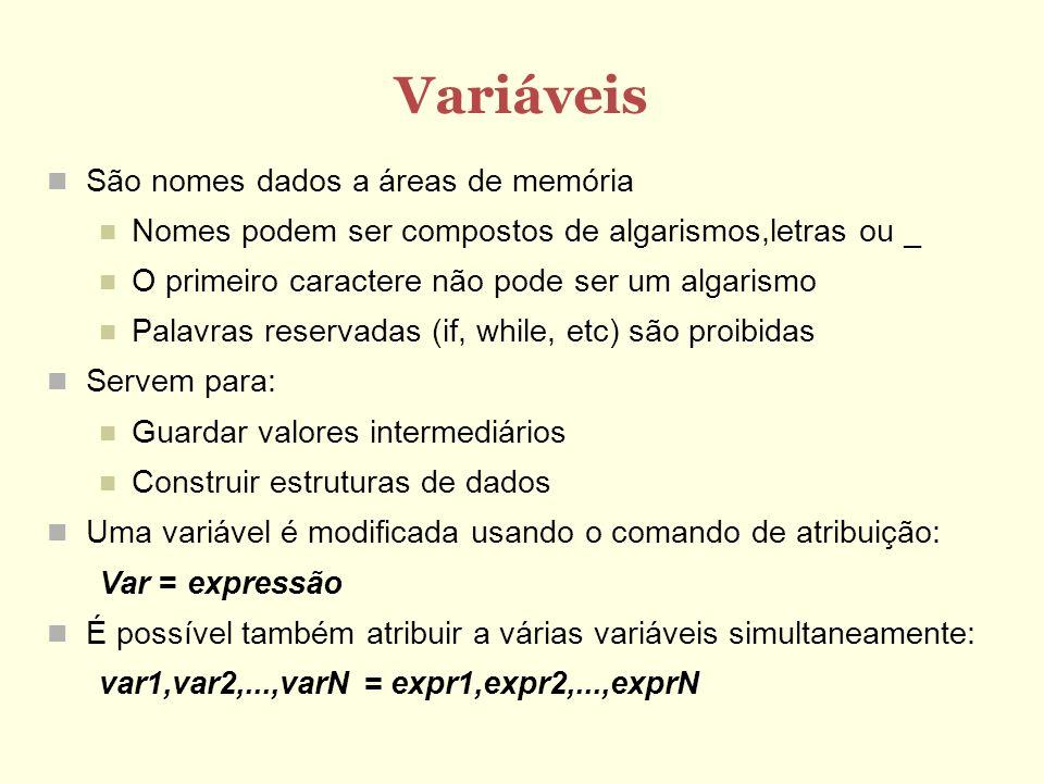 Variáveis São nomes dados a áreas de memória Nomes podem ser compostos de algarismos,letras ou _ O primeiro caractere não pode ser um algarismo Palavr
