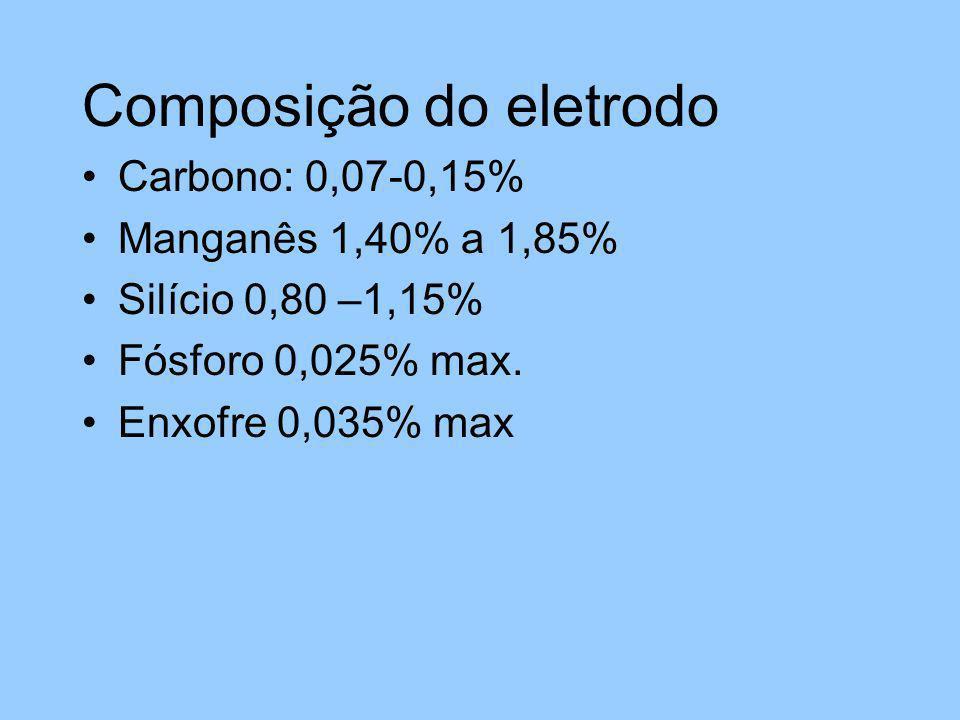 Composição do eletrodo Carbono: 0,07-0,15% Manganês 1,40% a 1,85% Silício 0,80 –1,15% Fósforo 0,025% max. Enxofre 0,035% max