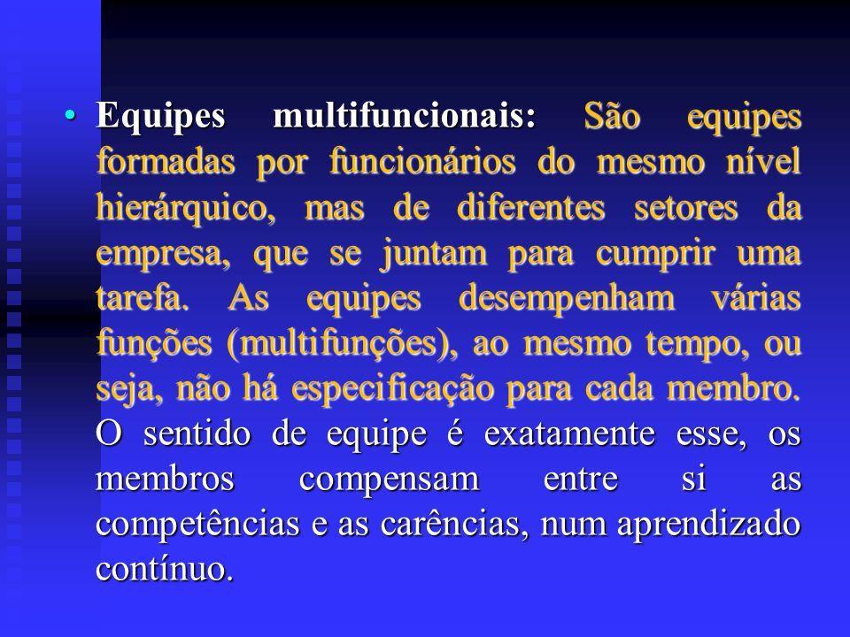 Equipes multifuncionais: São equipes formadas por funcionários do mesmo nível hierárquico, mas de diferentes setores da empresa, que se juntam para cu