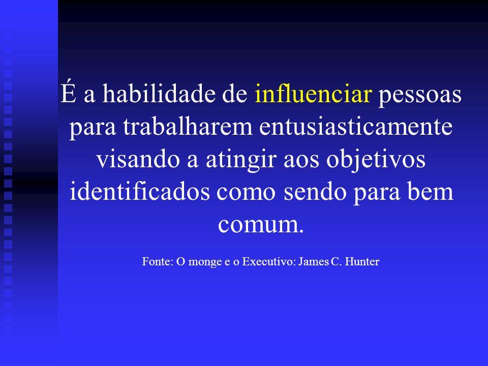 É a habilidade de influenciar pessoas para trabalharem entusiasticamente visando a atingir aos objetivos identificados como sendo para bem comum. Font