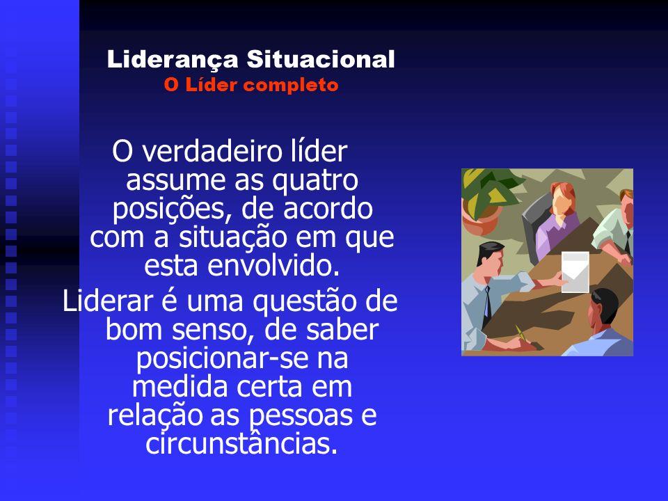 Liderança Situacional O Líder completo O verdadeiro líder assume as quatro posições, de acordo com a situação em que esta envolvido. Liderar é uma que