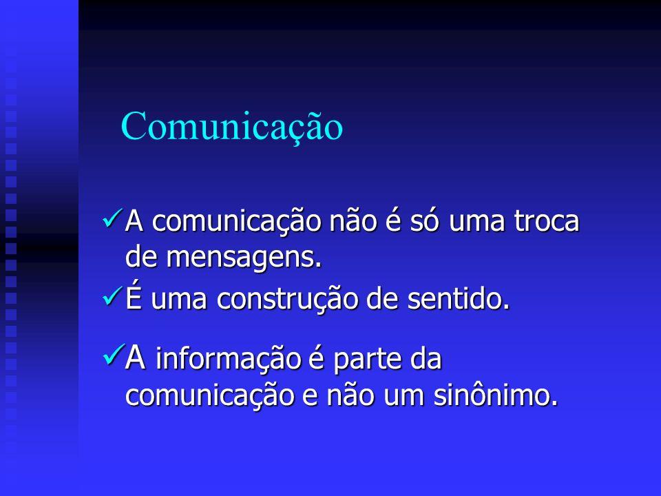 Comunicação A comunicação não é só uma troca de mensagens. A comunicação não é só uma troca de mensagens. É uma construção de sentido. É uma construçã