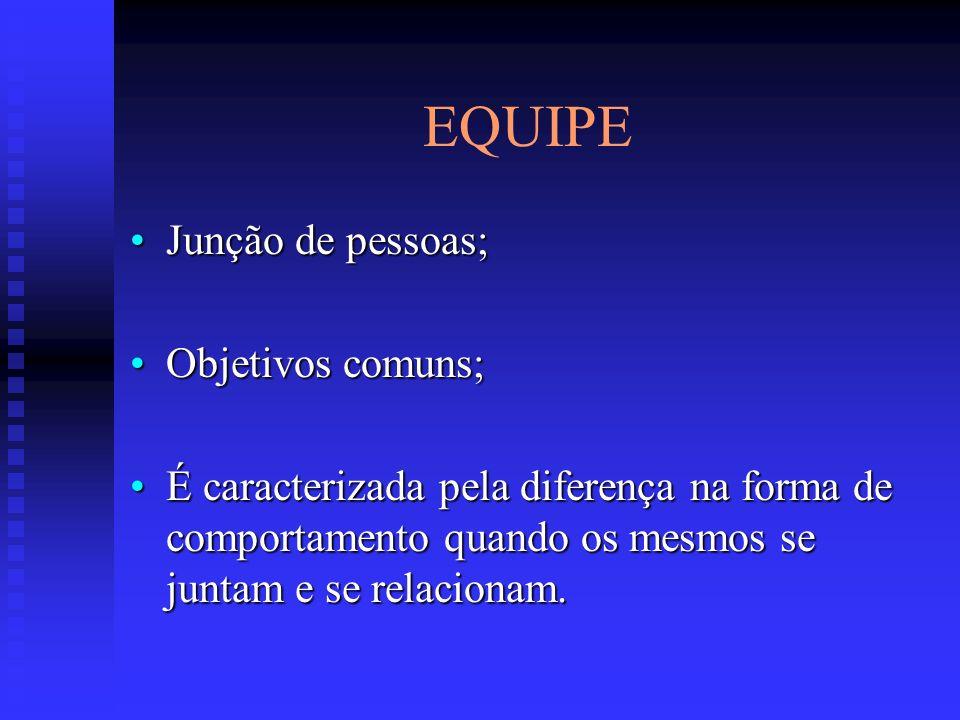 EQUIPE Junção de pessoas;Junção de pessoas; Objetivos comuns;Objetivos comuns; É caracterizada pela diferença na forma de comportamento quando os mesm