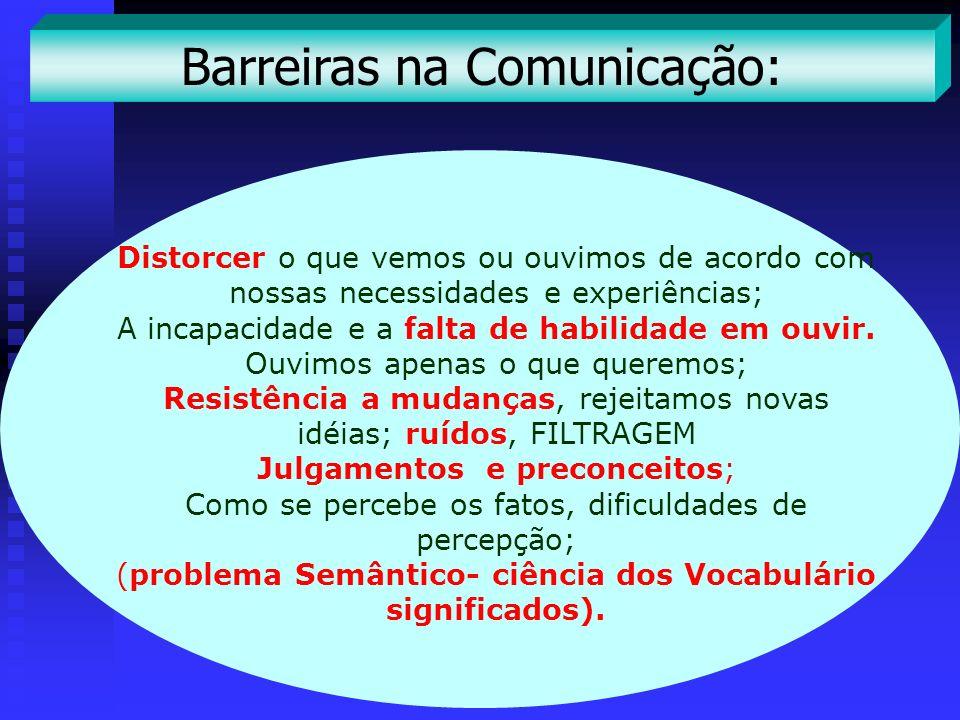 Barreiras na Comunicação: Distorcer o que vemos ou ouvimos de acordo com nossas necessidades e experiências; A incapacidade e a falta de habilidade em