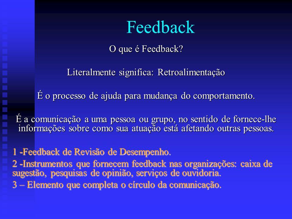 Feedback O que é Feedback? Literalmente significa: Retroalimentação É o processo de ajuda para mudança do comportamento. É a comunicação a uma pessoa