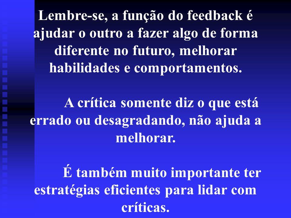 Lembre-se, a função do feedback é ajudar o outro a fazer algo de forma diferente no futuro, melhorar habilidades e comportamentos. A crítica somente d