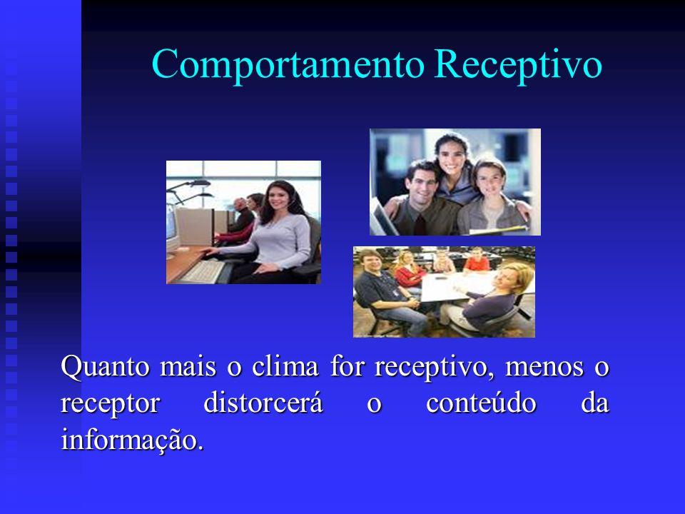 Comportamento Receptivo Quanto mais o clima for receptivo, menos o receptor distorcerá o conteúdo da informação.