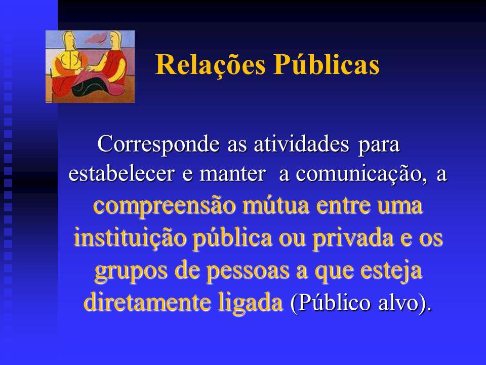 Relações Públicas Corresponde as atividades para estabelecer e manter a comunicação, a compreensão mútua entre uma instituição pública ou privada e os