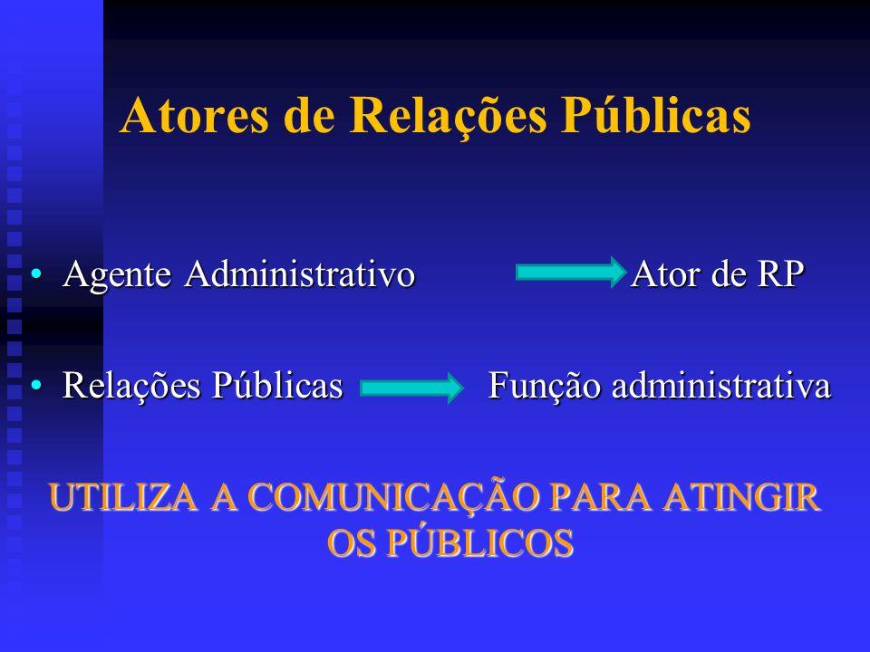 Atores de Relações Públicas Agente Administrativo Ator de RPAgente Administrativo Ator de RP Relações Públicas Função administrativaRelações Públicas