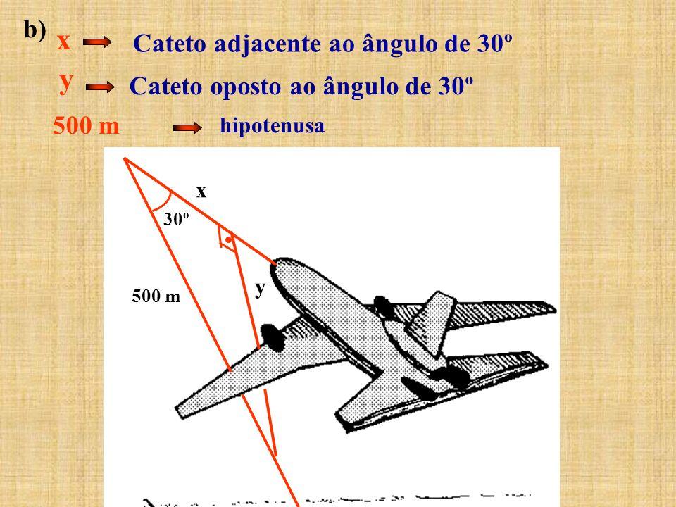 b) Cateto adjacente ao ângulo de 30º x 500 m hipotenusa y Cateto oposto ao ângulo de 30º 30º y 500 m x
